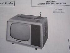 DELMONICO 8PV-47U & 8PV-47U-1 MINI TV TELEVISION PHOTOFACT