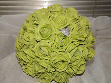Wedding flowers package Brides Maids Buttonholes lime foam roses and diamante