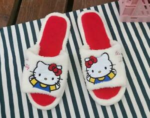 Hello kitty red fuzzy open-toed indoor shoes slippers shoe new