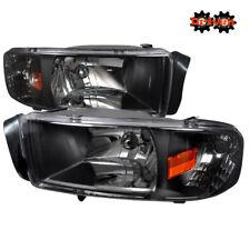 94-01 Dodge Ram 1500 2500 3500 Black Housing Headlights w/Amber Reflector Sport