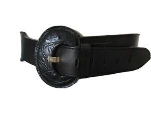 VINTAGE 1980'S SHAPED BLACK LEATHER CINCH BELT PRINTED MOCK CROC BUCKLE UK 12/14