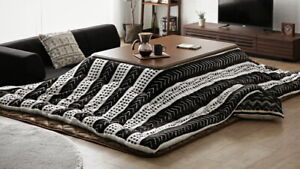 Kotatsu table 120x80cm&washable fluffy futon set from Japan Brown Native Black