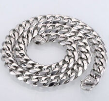 15mm 24'' Stainless steel Amazing Cuban Curb Link Chain Necklace silver Large