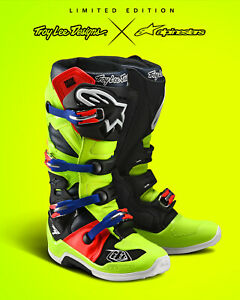 Troy Lee Desing Alpinestars Tech 7 Boots Off-Road MX - Yellow / Red