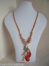 New Long Necklace in Orange Beige Yellow and White with Orange Stones & Shells