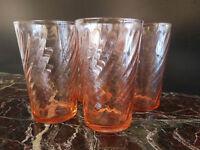 4 Bicchieri di Tavolo Radica Art Nouveau Vintage Mezza Pinta Francia
