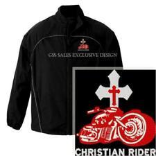 Christian Rider Biker Cross Embroidered Black Lightweight Jacket - 5XLarge SALE
