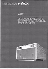 Studer Revox  Bedienungsanleitung user manual owners manual  für A 722