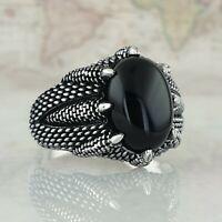 Llama Tribal Dragón Serpiente Claw 925 sterling sólido anillo de plata para hombre mujer