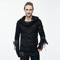 Devil fashion New Mens Hoodie Gothic Top Black long sleeve sweatshirts ragged