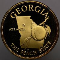 1970 STATES OF THE UNION GEORGIA GOLD PLATED SILVER CAMEO FRANKLIN MINT (DR)