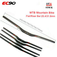 EC90 25.4/31.8mm Carbon Bicycle Flat Riser Handlebar MTB Mountain Bike 660-760mm