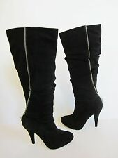 Pour La Victoire Black Suede Zipper High Heel Knee High Boots 6.5
