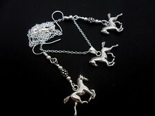 A TIBETAN SILVER HORSE/PONY THEMED NECKLACE & EARRING SET. NEW.
