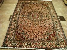 Floral Ivory Medallion Hand Knotted Rug Wool Silk Carpet (9 x 6)'