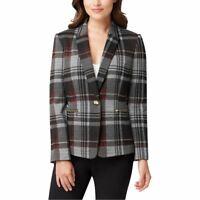 TAHARI ASL NEW Women's Plaid-knit One-button Lined Blazer Jacket Top 4 TEDO