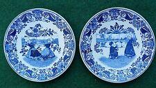 """2 Rare Vintage Dutch Blue Delft Petrus Regouts 8.66"""" Wall Plates Scene Children"""