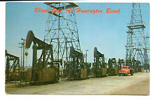 Huntington Beach CA Oil Pumps-Derricks-Truck Postcard 1957