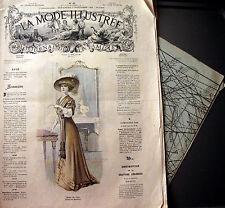 LA MODE ILLUSTREE + PATRON,  n° 45/1908 Voir modèles à réaliser, FRENCH PATTERN