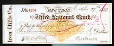 THIRD NATIONAL BANK, NEW YORK, IRON CLIFFS CO. Endorsed $5004 check dated 1877