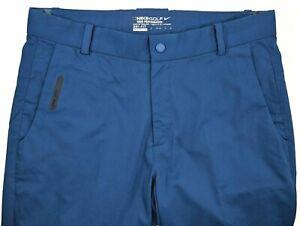 Nike Golf Dri Fit Stretch Performance Blue Pants 30x32 Chino Flat Front Premium