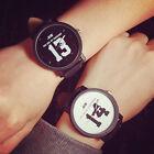 Fashion Men's Women's Stainless Steel Leather Quartz Casual Wrist Watch Analog