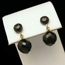 WESTERN GERMANY Large Black Crystal Dangles Earrings Vintage Pretty