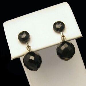WESTERN GERMANY Large Black Crystal Dangles Earrings Vintage Pretty