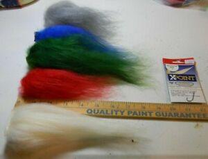 Icelandic Sheep Hair kit with Hooks  Red, white, blue, green, gray   USA seller