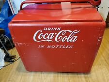 Metal Coca Cola Cooler Antique Vintage 1950s  With Bottle Opener