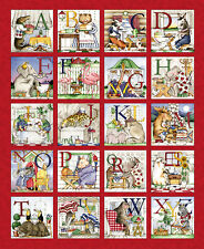 """Quilting Treasures Hungry Animal Alphabet  Quilting Fabric Panel=35"""" X 43"""""""