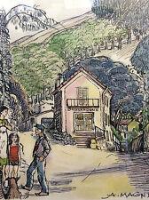 Aquarelle A Magnier illustrateur quotidien La Provence la Panouse marseille 1950