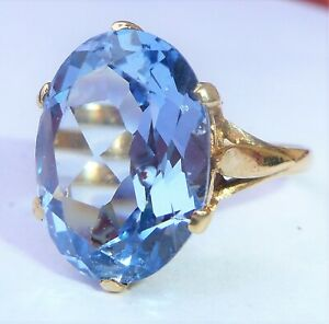 Large 9ct Gold 13.39ct Blue Topaz Cocktail Ring, Size O