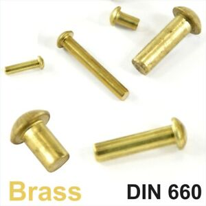 Solid Brass Round Head Rivets DIN 660 Dia 2mm 3mm 4mm 5mm 6mm Dome Pan Head RIV