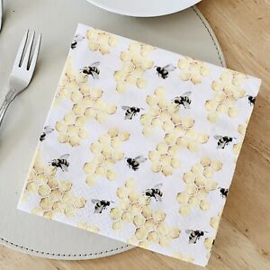Bee Table Lunch Napkins Bumblebee Honey Bee Tiflair 3 Ply Pack of 20