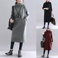 Damen Winter Pullover Pullikleid Sweatkleid Sweatshirt Langarm Longtop Minikleid