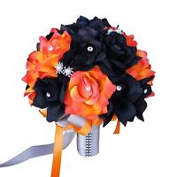 "10"" Orange and Black Artificial Roses with Silver Decor Fall Wedding Bouquet"