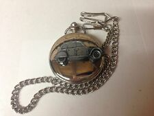 Citroen 2CV ref37 Pewter Effect Car on a polished Silver Case Pocket Watch