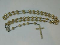 Vintage Sterling Silver Cross Crucifix Faux Pearl bead Rosary Beads 3k 28