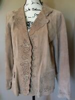 COLDWATER CREEK L Scalloped Rawhide Leather Jacket tan no liner,thin leather