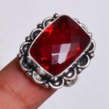Plated Handmade Ring Size-8.25 Hr-673 Garnet Gemstone 925 Sterling Silver
