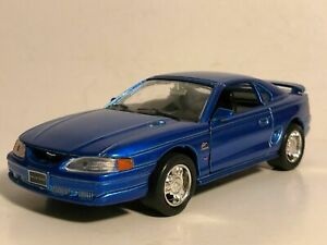 """WELLY 1994 MUSTANG GT BLUE 1:32 DIECAST MODEL CAR 5.25"""" PULL BACK NEW NO BOX"""