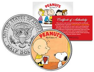 Peanuts VALENTINE'S * Charlie Brown & Snoopy * JFK Half Dollar US Coin Licensed