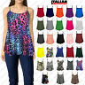 Womens Ladies Plain Printed CAMI SWING VEST Top Sleeveless Strappy Flared Plus