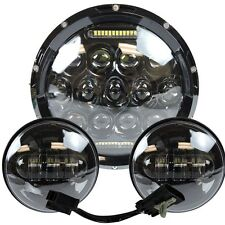 "7"" Motorcycle LED Projector Daymaker Headlight Passing Lights Harley Touring 3"