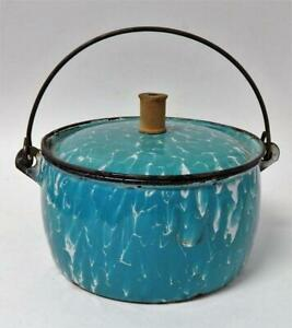 Antique Turquoise & White Graniteware Covered Farm Berry Bucket w/Make-Do Repair