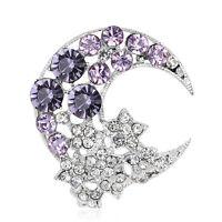 Beautiful Moon Shape Blue Purple Rhinestone Glass Craft Brooch Clasp Pin Gift