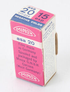 MINOX ASA 20 COLOR NEG, 15 EXP ROLL, SEALED, BOXED, EXPIRED JULY 1971/191395