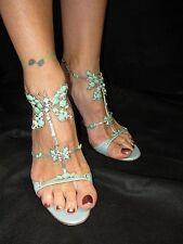 GIUSEPPE ZANOTTI Jeweled Light Blue Butterfly Strappy Heels Sandals 39.5 US 8-9