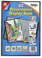 4 x A3 Premium Black Cover Display Book Presentation Folder Portfolio - 40 pkt